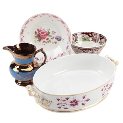 English Pink and Copper Luster with England Porcelain Server, 19th Century