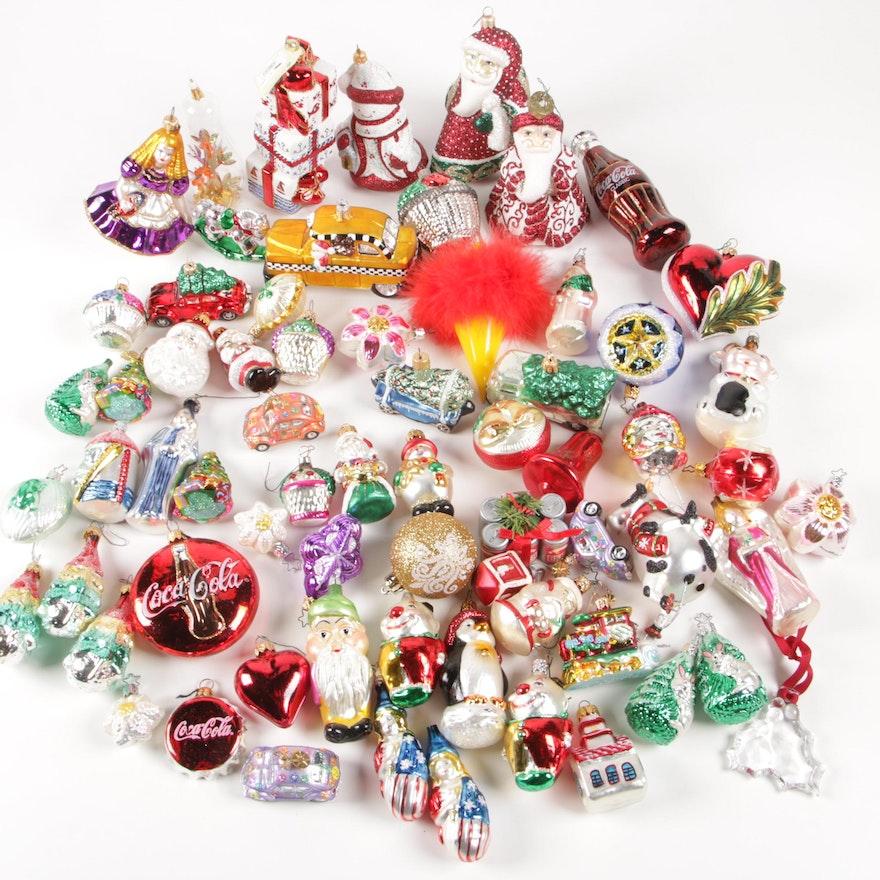 Glass Assortment of Decorative Christmas Ornaments