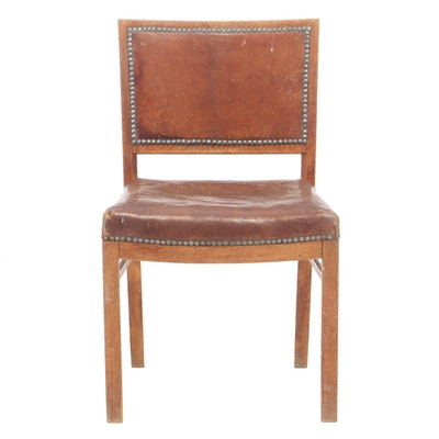 Distressed Brown Leather and Stained Beech Side Chair, 20th Century