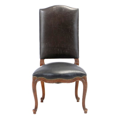 Louis XV Style Black Leather-Upholstered Walnut Side Chair, 20th Century