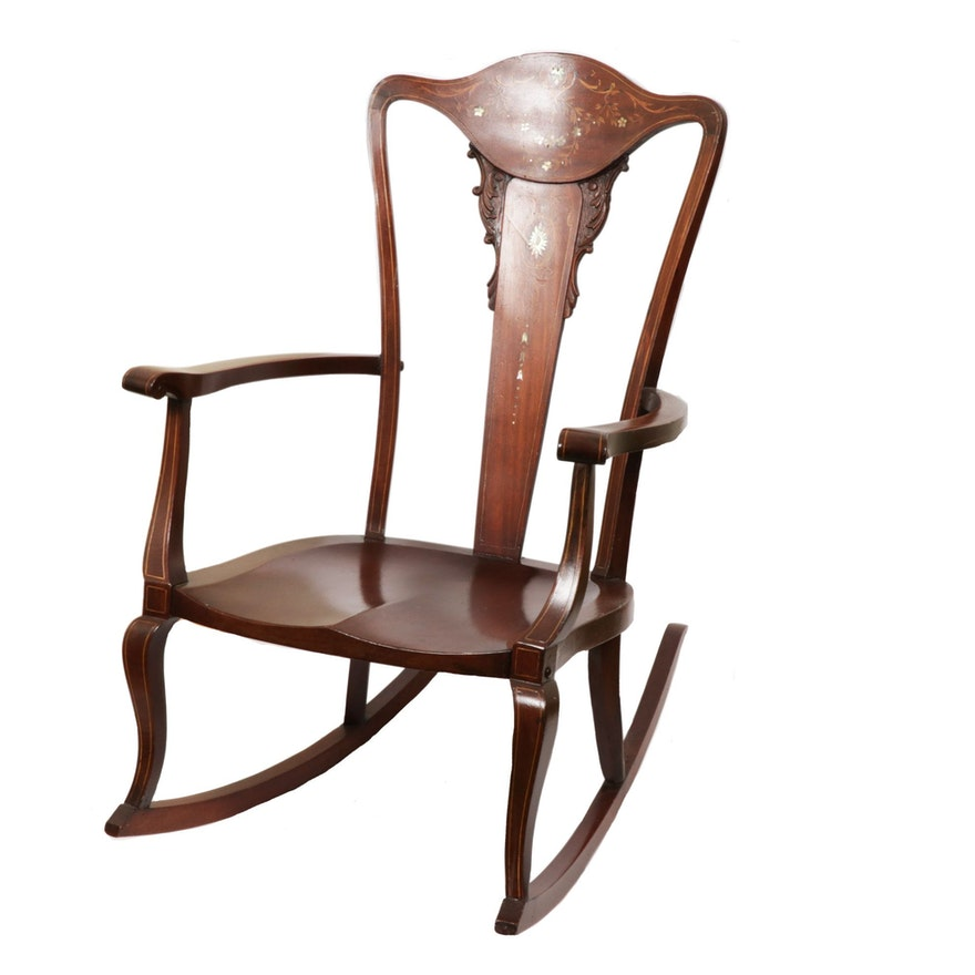 Transitional Style Mahogany Abalone Inlay Rocking Chair, Late 19th/Early 20th C.