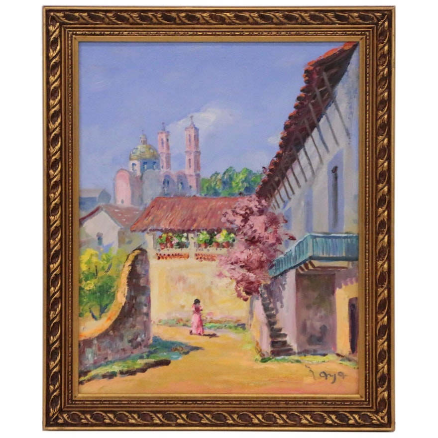 Acrylic Painting of Architectural Landscape with Figure