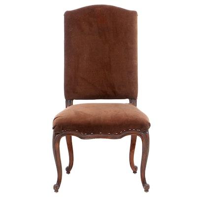 Ralph Lauren Louis XV Style Velveteen-Upholstered Mahogany Side Chair