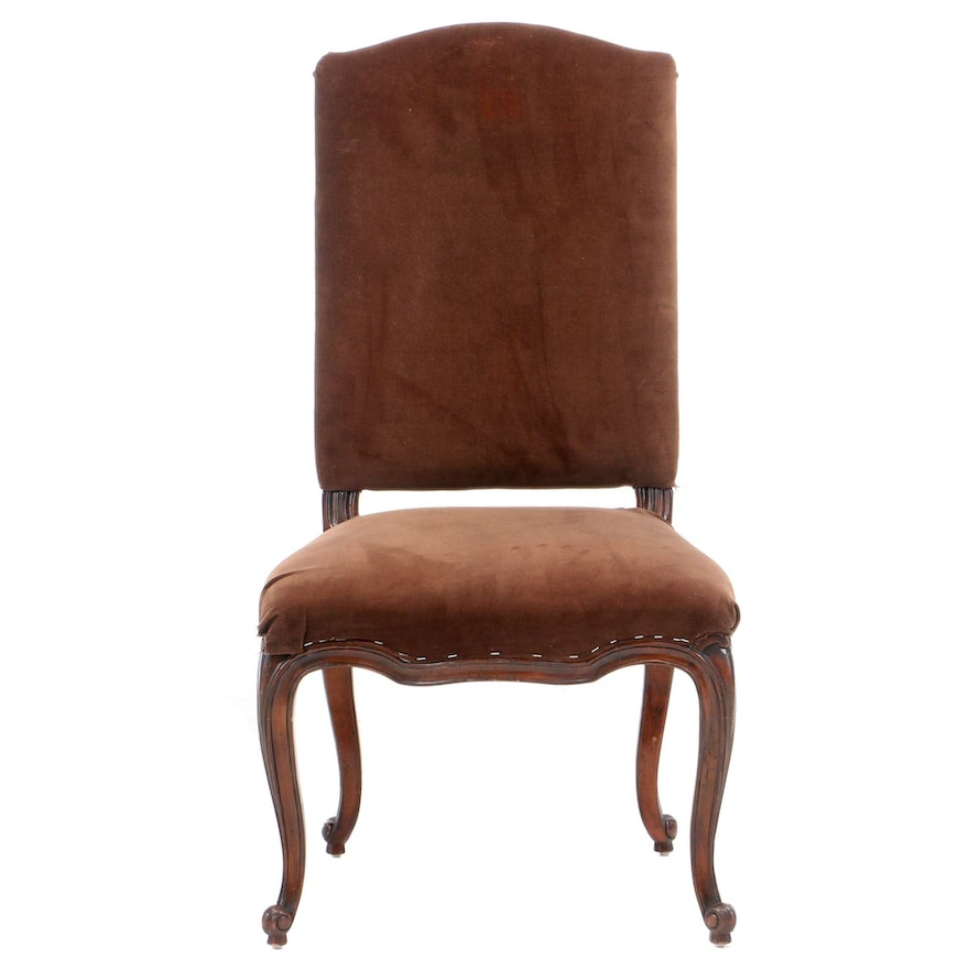 Ralph Lauren Louis XV Style Velveteen-Upholstered Mahogany Side Chair