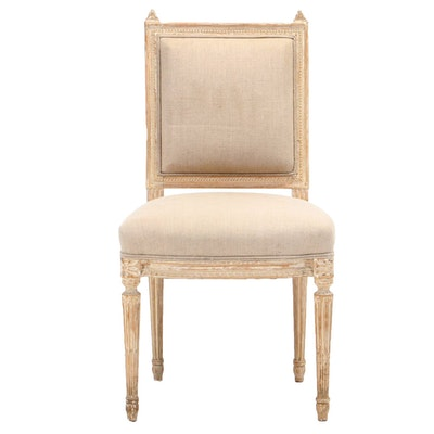 Maison Hirch Louis XVI Style Linen-Upholstered and Painted Beech Side Chair