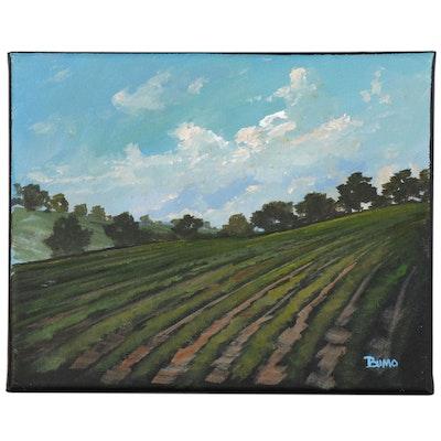 "Douglas ""Bumo"" Johnpeer Oil Painting ""Napa Vineyards"""