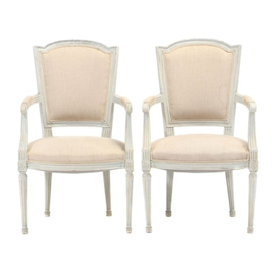 Pair of Louis XVI Style Linen-Upholstered and Painted Fauteuils, 20th Century