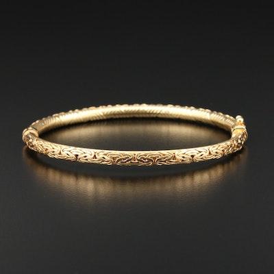 14K Gold Byzantine Bangle Bracelet