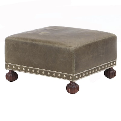 Metal-Tacked Green Leather and Mahogany-Stained Footstool