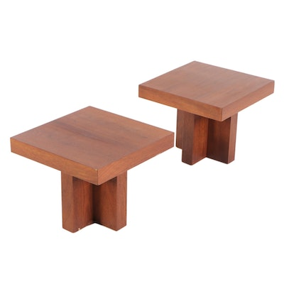 Milo Baughman Walnut Cross-Base End Tables, Mid-20th Century