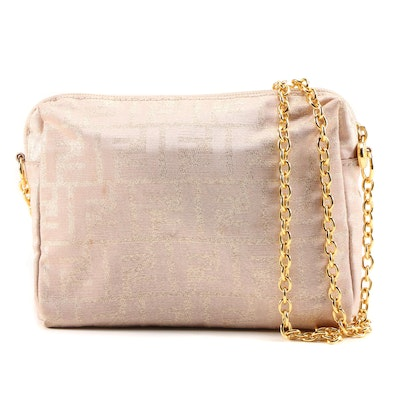 Fendi Metallic Blush Zucca Jacquard Chain Strap Crossbody