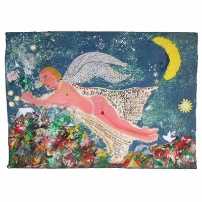 "Folk Art Mixed Media Painting on Handmade Paper ""Dolphin Dream"""