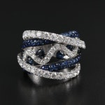 18K White Gold 2.22 CTW Diamond and Sapphire Ring