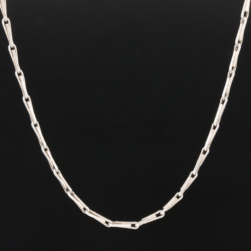 835 Silver Fancy Link Chain Necklace