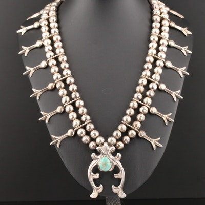 Southwestern Sterling Turquoise Squash Blossom Necklace and Naja