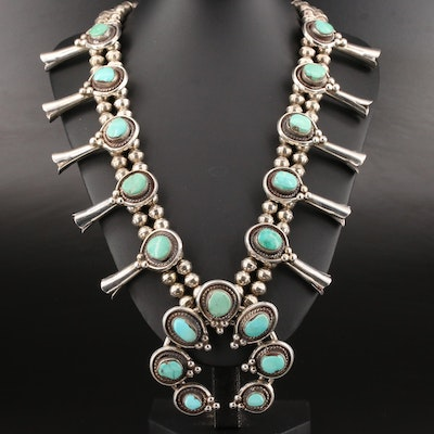 Southwestern Style Sterling Turquoise Squash Blossom Necklace with Naja