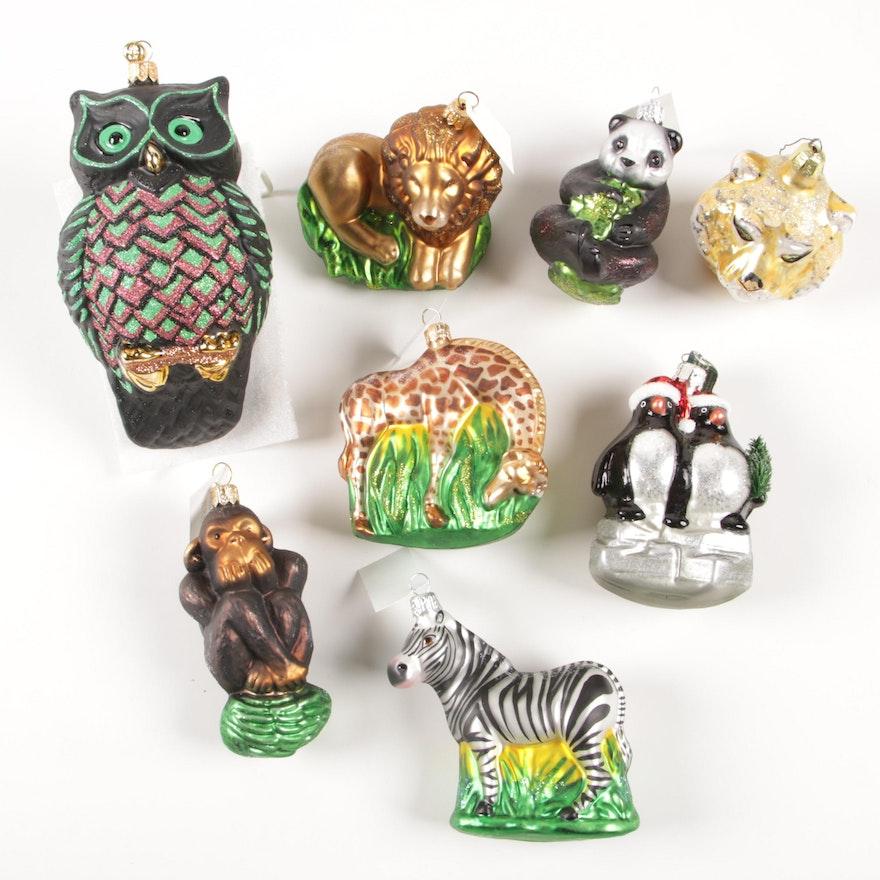 German and Polish Hand Crafted Christmas Animal Theme Ornaments