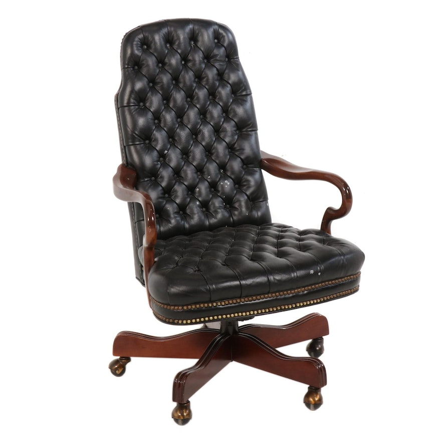 Leather Tufted and Mahogany-Finished Wood Executive Desk Chair