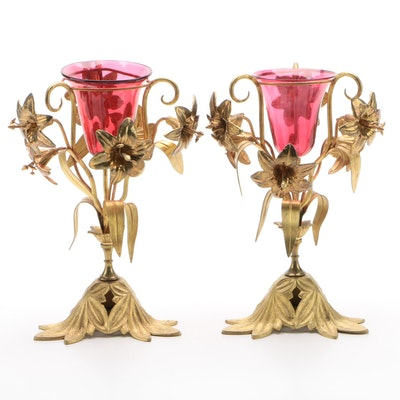 Pair of Continental Naturalistic Gilt Metal and Glass Votive Holders