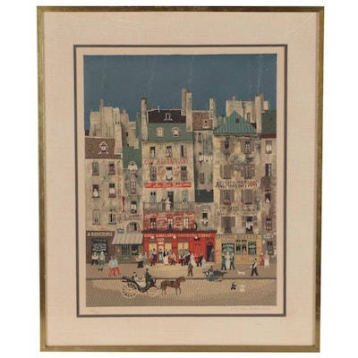 Michel Delacroix Color Lithograph of French Street Scene