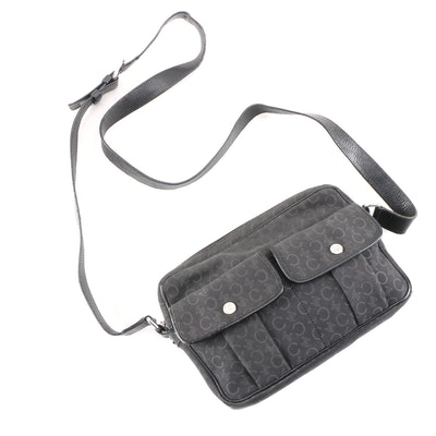 Céline Black-Gray Macadam Jacquard and Leather Double Pocket Crossbody