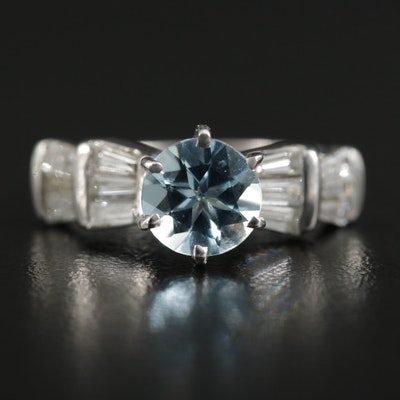 14K White Gold Aquamarine and Diamond Ring