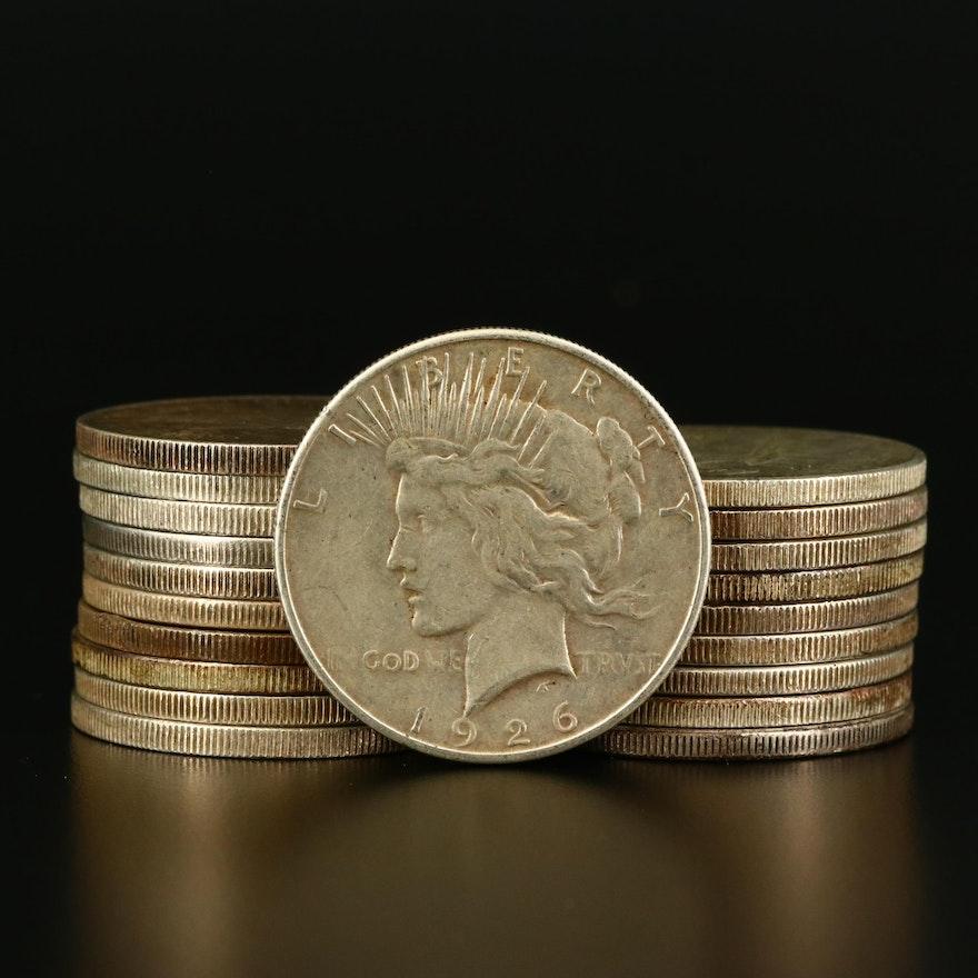 Twenty Various Silver Peace Dollars