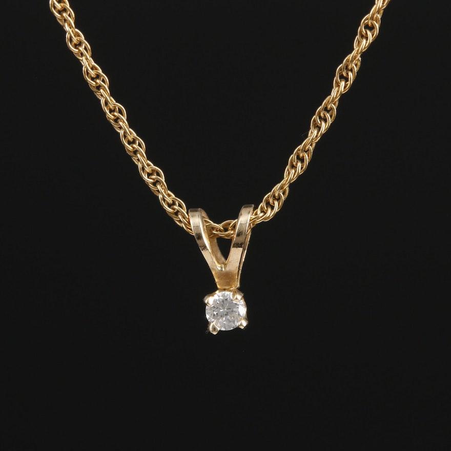14K Yellow Gold Diamond Solitaire Pendant Necklace