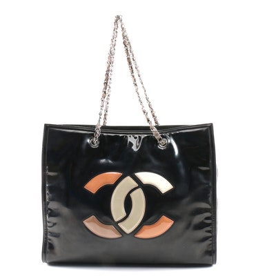 Chanel Lipstick Ligne Tote Bag in Black Patent and Quilted Leather