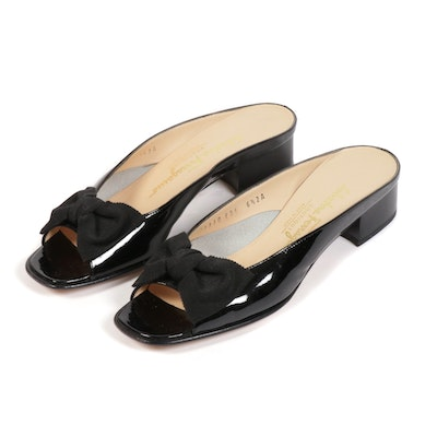 Salvatore Ferragamo Boutique Black Patent Leather Mules with Ribbon Bow Detail