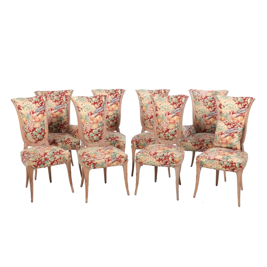 Eight Floral Upholstered Neoclassical Style Dining Chairs, Late 20th Century