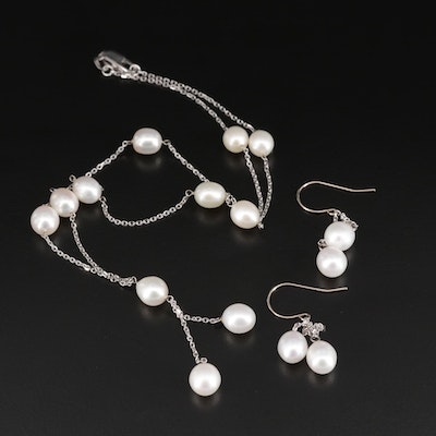 14K White Gold Pearl Tassel Necklace and Dangle Earrings Set