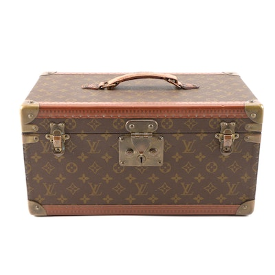 Louis Vuitton Train Case in Monogram and Leather, 1960s Vintage