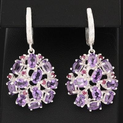 Sterling Silver Amethyst and Garnet Cluster Earrings