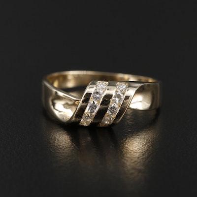 14K Yellow Gold Diamond Ribbon Motif Ring