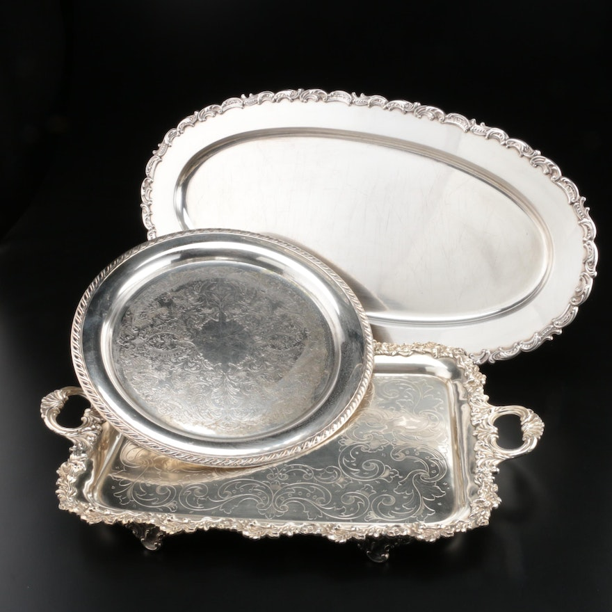 Gorham and Other Silver Plate Serving Trays