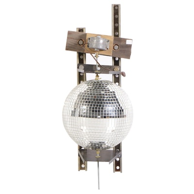 Mirrored Disco Ball on Electric Wall-Mount Bracket