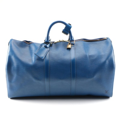 Louis Vuitton Keepall 55 Travel Duffel in Toledo Blue Epi Leather and Leather