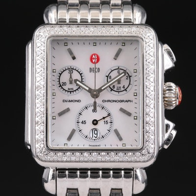 Michele Stainless Steel and Diamond Wristwatch