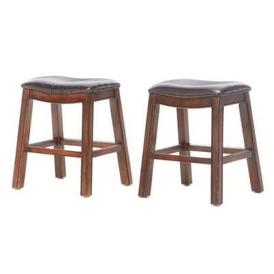 Pair of Counter Stools in Faux Leather