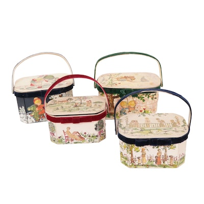 Hand-Painted Wood Box Purses by Joanne, 1970s Vintage