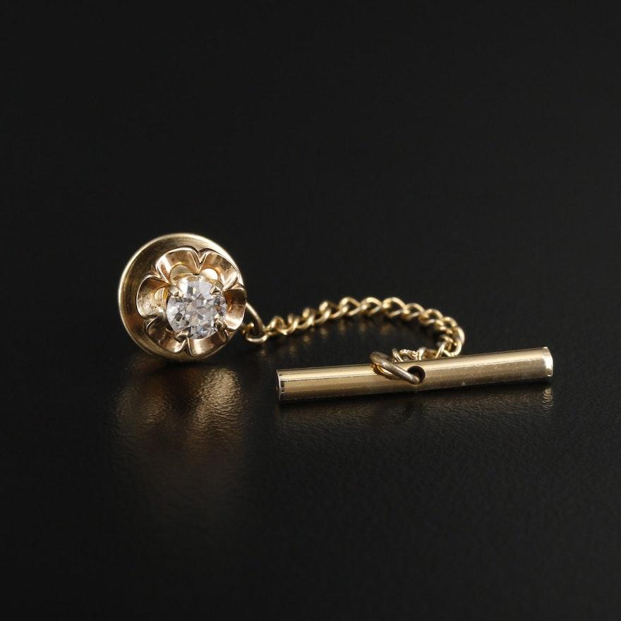 14K Yellow Gold Diamond Tie Tack