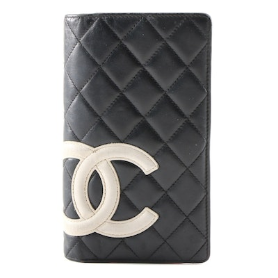 Chanel Cambon Ligne L Yen Wallet in Black Quilted Leather