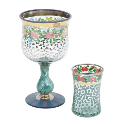 "MacKenzie-Childs Hand-Painted ""Circus"" Water Goblet and Tumbler"