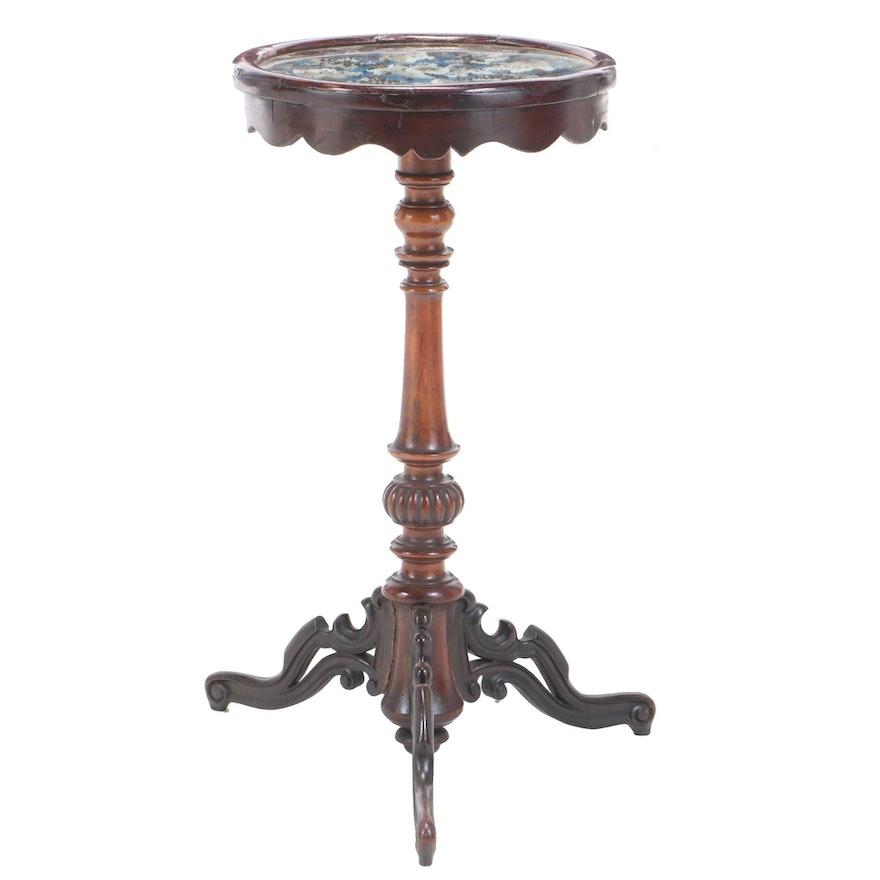 English Early Victorian Beadwork on Mahogany Table, Mid 19th Century