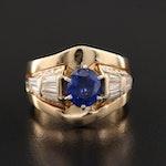 14K Yellow Gold Sapphire and 1.14 CTW Diamond Ring