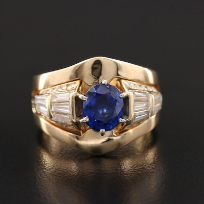 14K Yellow Gold Sapphire and 1.14 CTW Diamond Ring