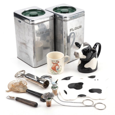 Beautyware Chrome Kitchen Canisters, Bar Tools, and More