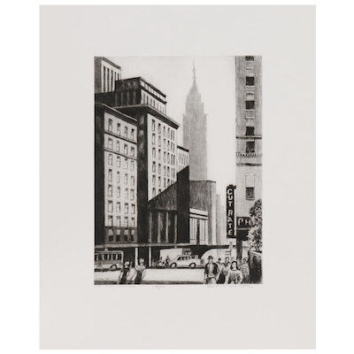 """Lawrence Nelson Wilbur Etching """"The Spire- New York"""""""