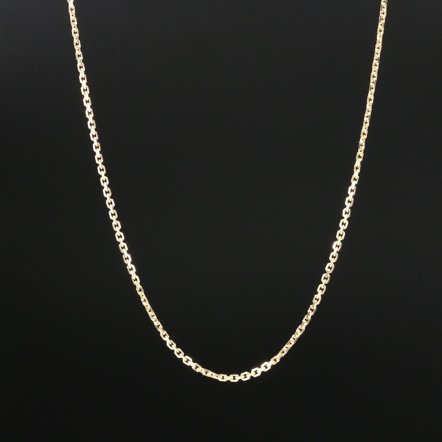 14K Yellow Gold Flat Cable Chain Necklace
